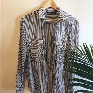 Zara blue and white silk striped button up